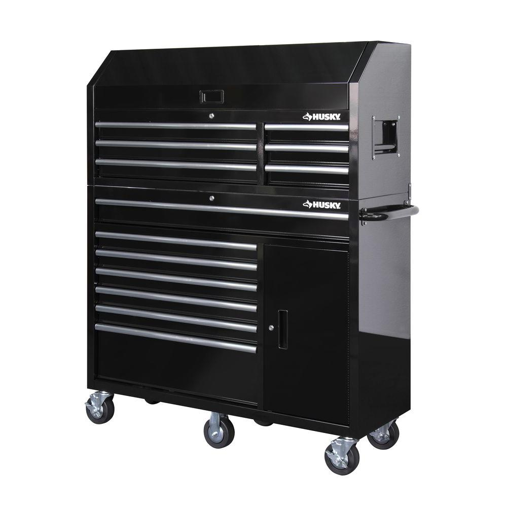 Husky 52 In 18 Drawer Tool Chest And Cabinet Set Black