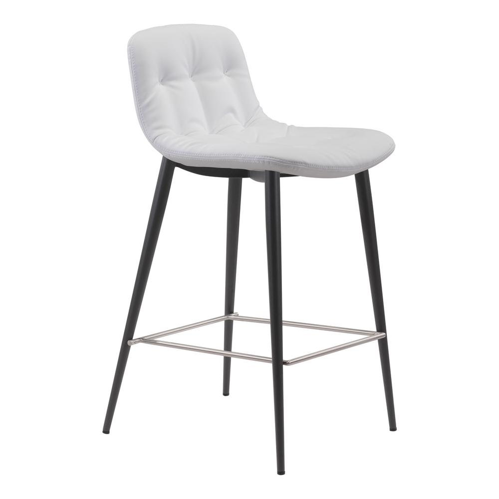 Zuo Tangiers 362 In White Counter Chair Set Of 2 101085 The