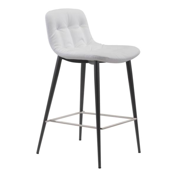 ZUO Tangiers 36.2 in. White Counter Chair (Set of 2)