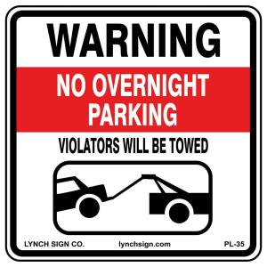 Lynch Sign 18 in. x 18 in. No Overnight Parking Sign ...