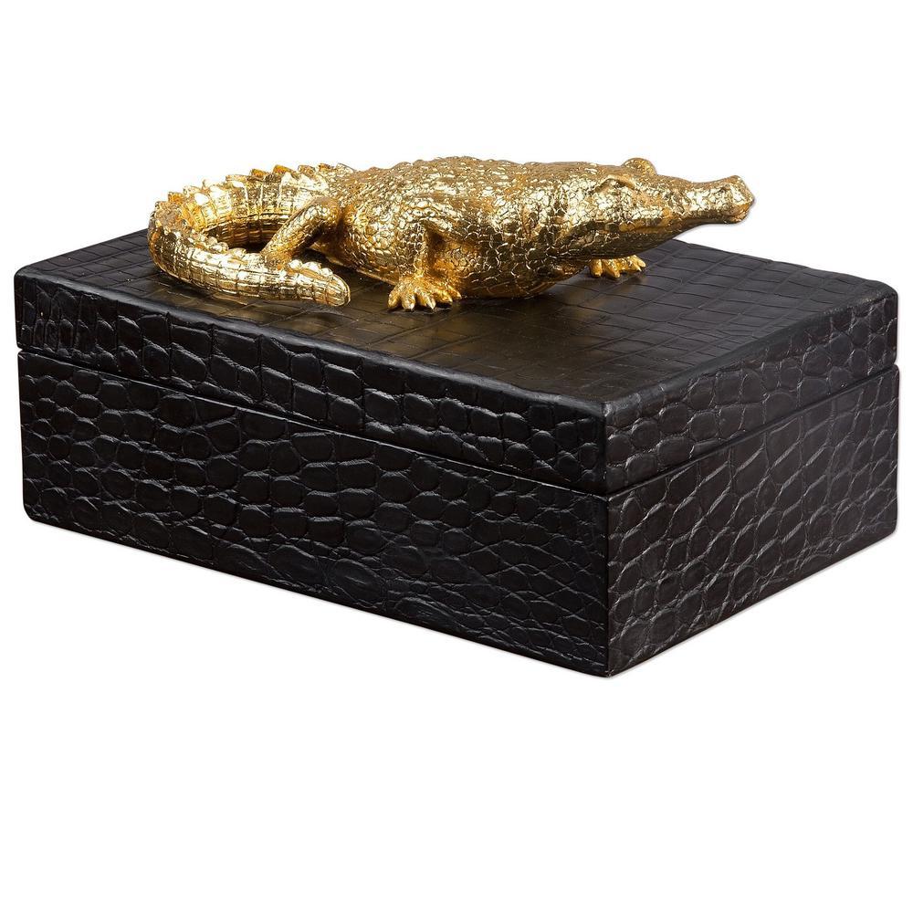 10.25 in. x 7 in. x 5.75 in. Decorative Crocodile Box in Black