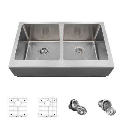 All-in-One Farmhouse Apron Front Stainless Steel 33 in. Double Bowl Kitchen Sink