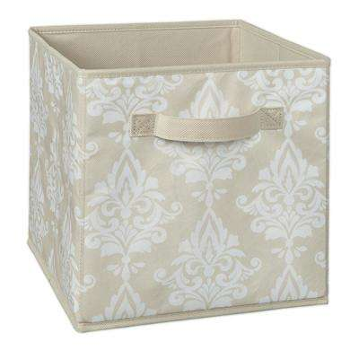 11 in. W x 11 in. H x 11 in. D Natural Damask Print Fabric Drawer