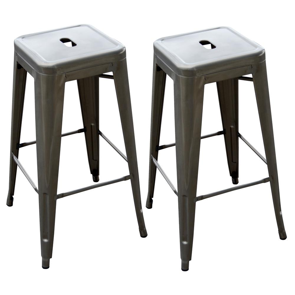AmeriHome Loft Style 30 in. Stackable Metal Bar Stool in Gunmetal Silver (Set of 2) was $135.65 now $83.45 (38.0% off)