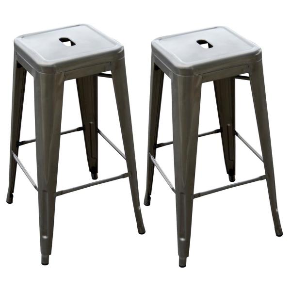 Loft Style 30 in. Stackable Metal Bar Stool in Gunmetal Silver (Set of 2)