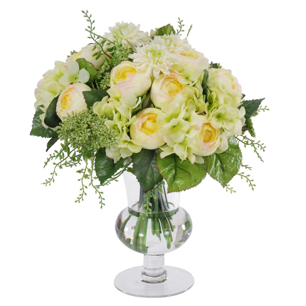 Mixed Ranunculus 12 in. Cream/Green Bouquet in Footed Glass Vase Flowers