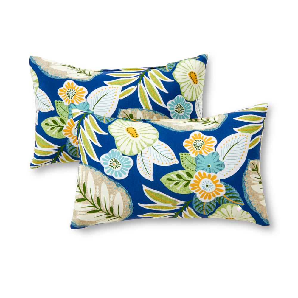 Greendale Home Fashions Marlow Floral Lumbar Outdoor Throw Pillow (2-Pack)