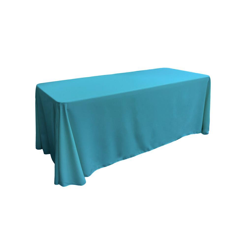 LA Linen 90 in. x 132 in. Dark Turquoise Polyester Poplin