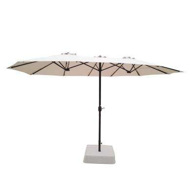 8.8 ft. x 14 ft. Triple Vent Patio Umbrella in Beige with Sand Bag Base
