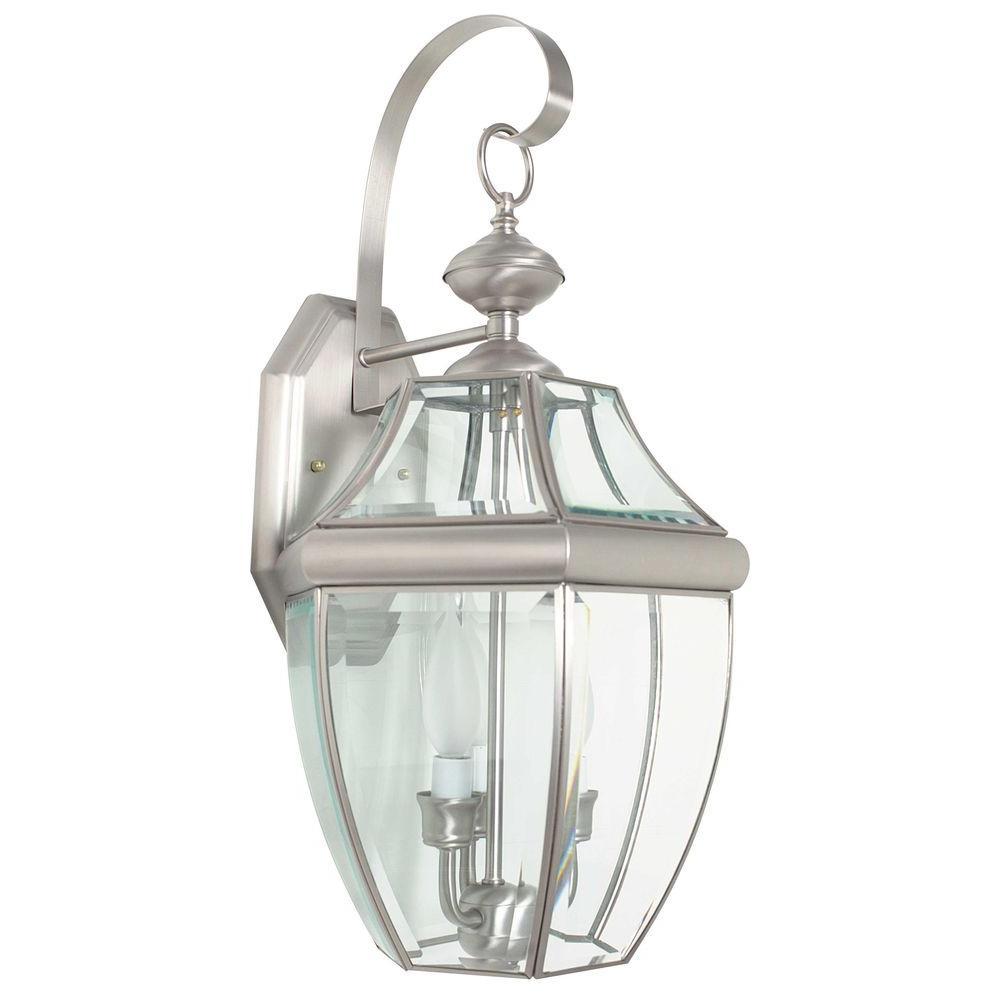 Finnegan 3-Light Satin Nickel Outdoor Wall Lantern