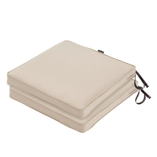 Classic Accessories Montlake 20 In L X 20 In W X 2 In Thick Square Outdoor Antique Beige Water Resistant Patio Seat Cushion 2 Pack 62 004 Beige 2pk The Home Depot