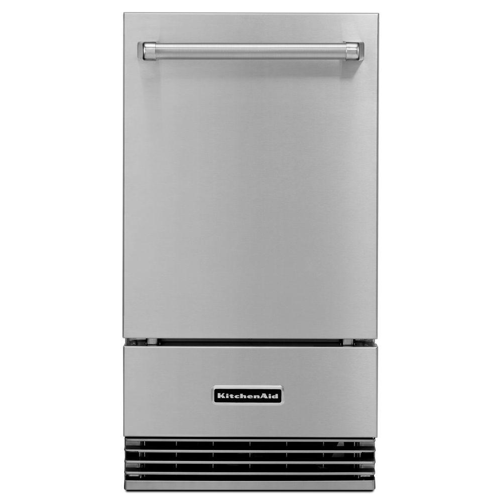 Kitchenaid 18 in 50 lb freestanding or built in outdoor icemaker in stainless steel - Built in microwave home depot ...