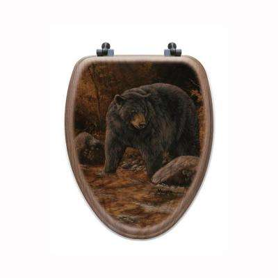 Streamside Bear Elongated Closed Front Wood Toilet Seat in Oak Brown