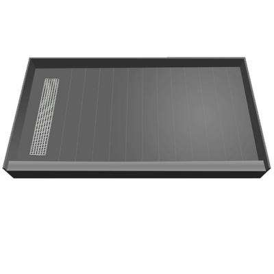 34 in. x 60 in. Single Threshold Shower Base with Left Drain and Polished Chrome Trench Grate