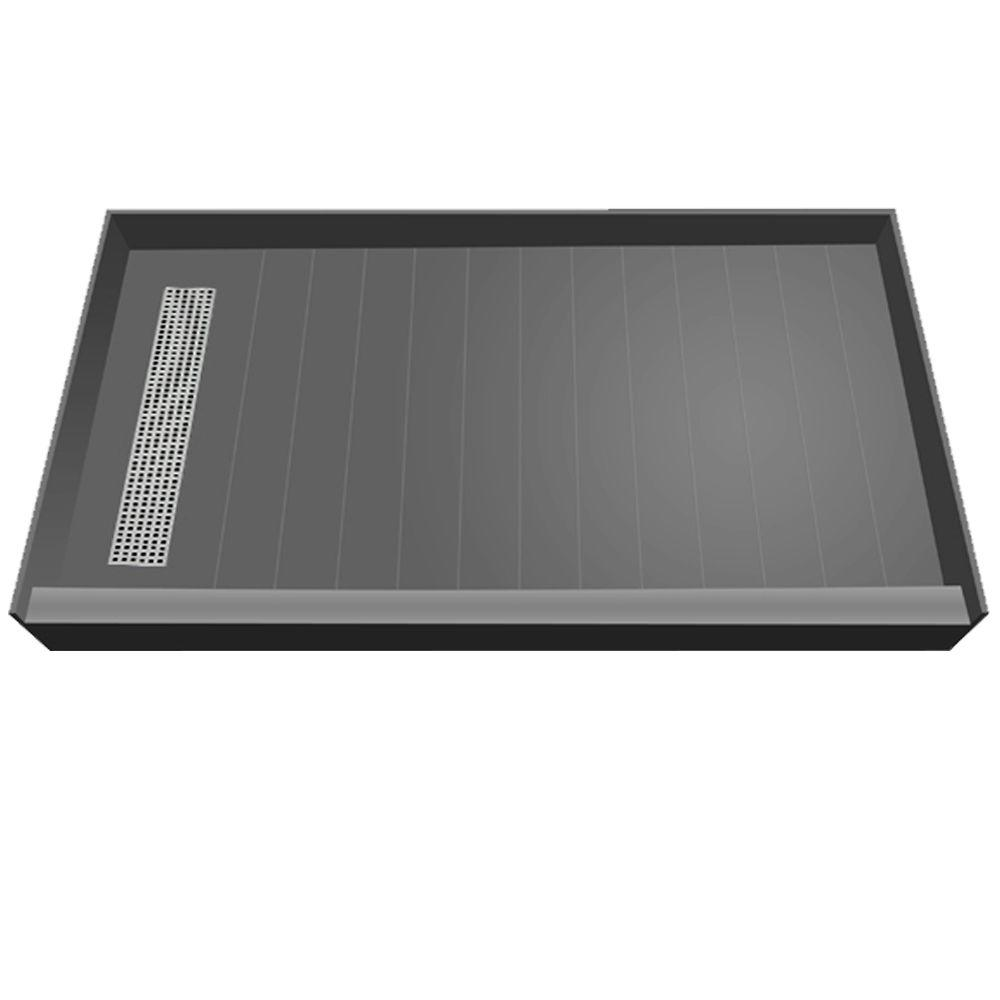 Redi Trench 42 in. x 60 in. Single Threshold Shower Base with Left Drain and Polished Chrome Trench Grate