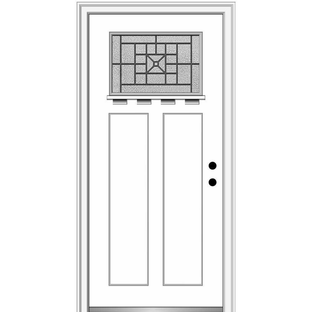 MMI Door 32 in. x 80 in. Courtyard Left-Hand 1-Lite Decorative Craftsman with Shelf Painted Fiberglass Smooth Prehung Front Door, Brilliant White was $1733.46 now $1127.0 (35.0% off)