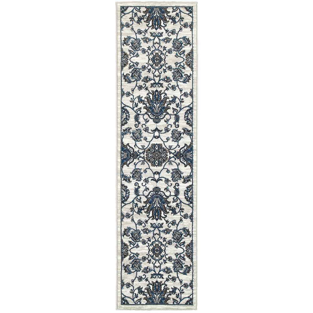 Adana White/Blue 1 ft. 10 in. x 7 ft. 1 in. Plush Indoor Runner