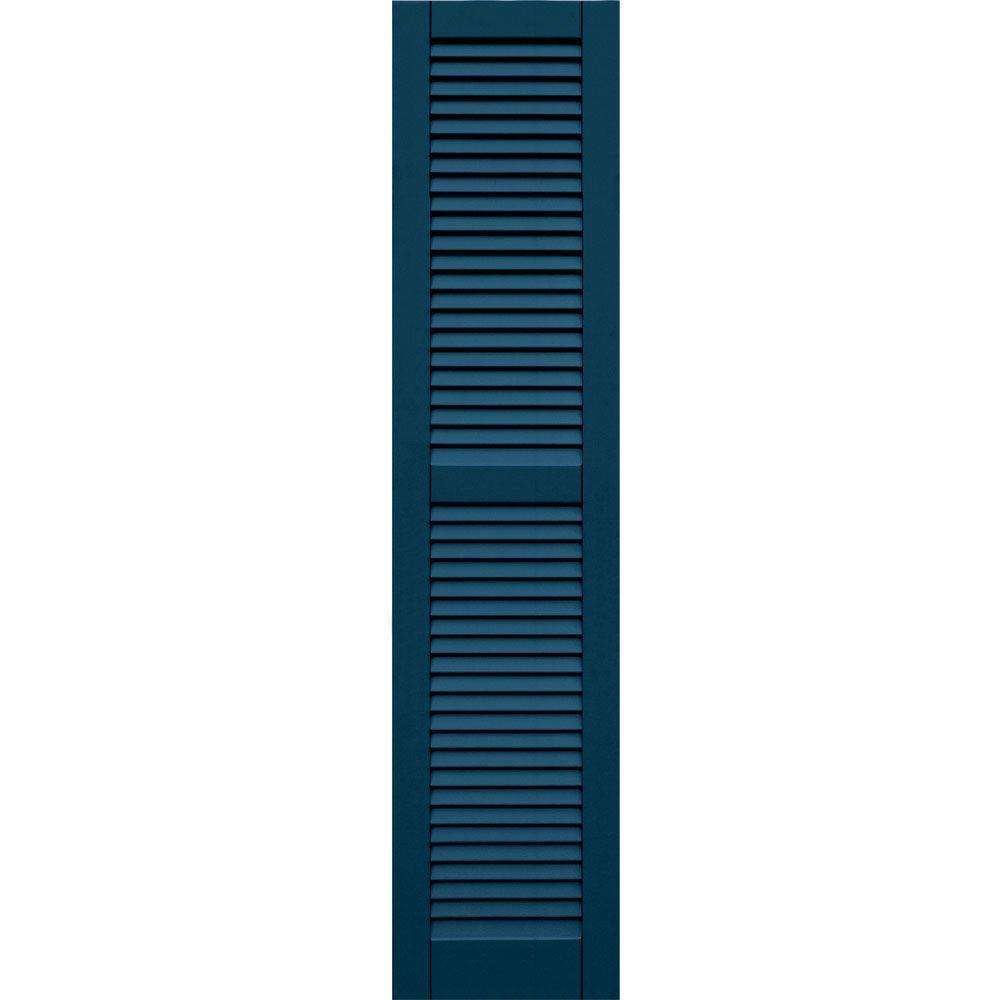 Winworks Wood Composite 15 in. x 66 in. Louvered Shutters Pair #637 Deep Sea Blue