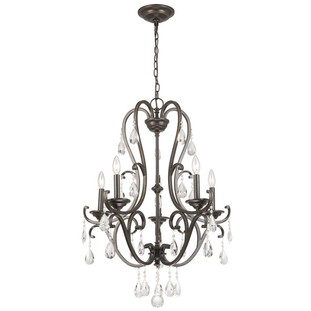 Hampton bay 5 light oil rubbed bronze chandelier with hanging crystals