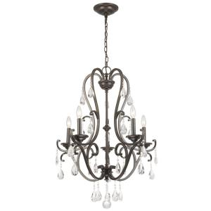 Hampton Bay 5-Light Oil Rubbed Bronze Chandelier with Hanging Crystals by Hampton Bay