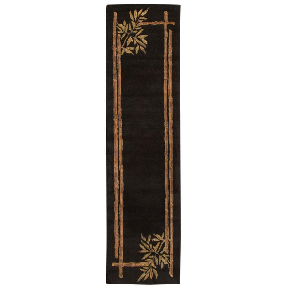 Bamboo Black 2 ft. 6 in. x 10 ft. Rug Runner