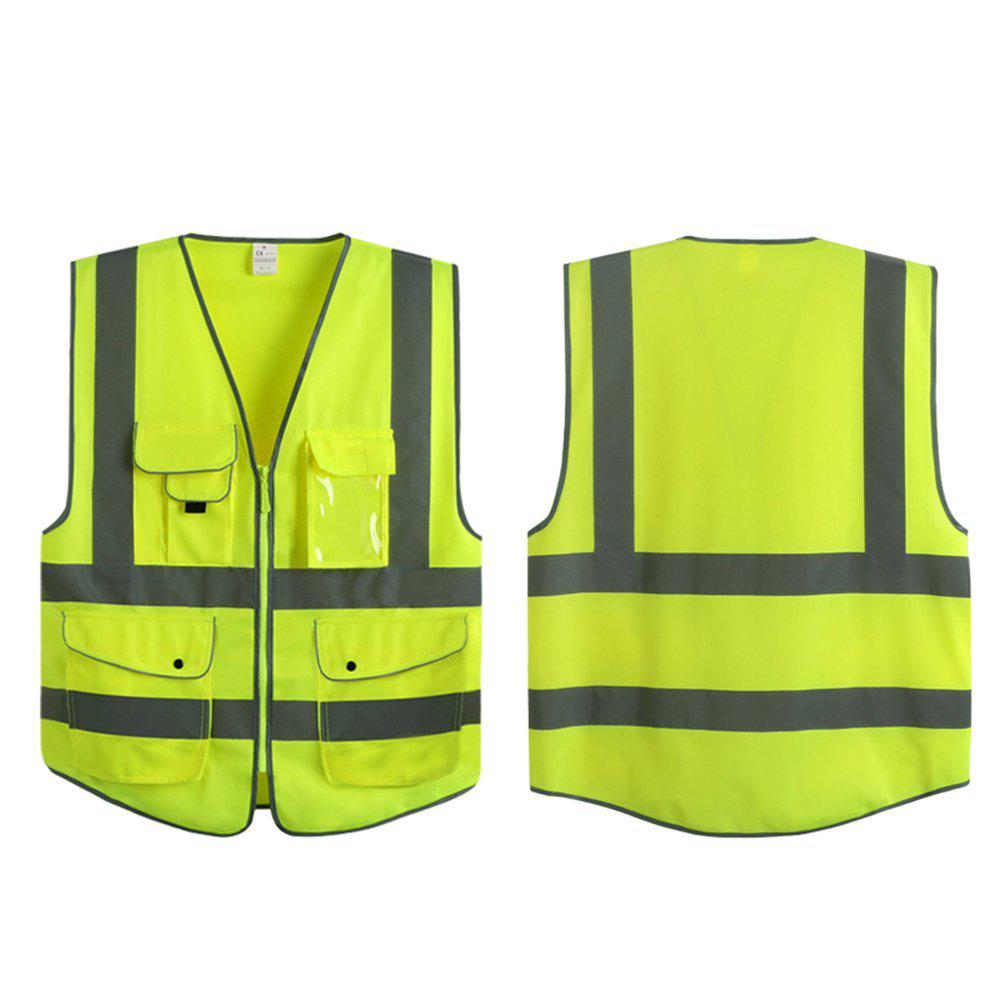 G & F Products 7-Pockets Class 2-High Visibility Zipper Front Safety Vest W/ Reflective Strips in Yellow Meets ANSI/ISEA Standards (XL)