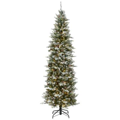 7.5 ft. Snowy Morgan Spruce Pencil Slim Artificial Christmas Tree with Dual Color LED Cosmic Lights