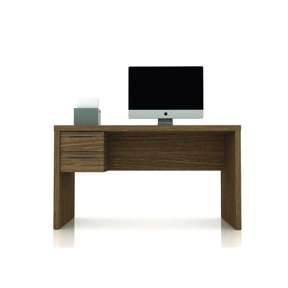Manhattan Comfort Hamilton Desk with 2-Drawers in Walnut/Pro Touch
