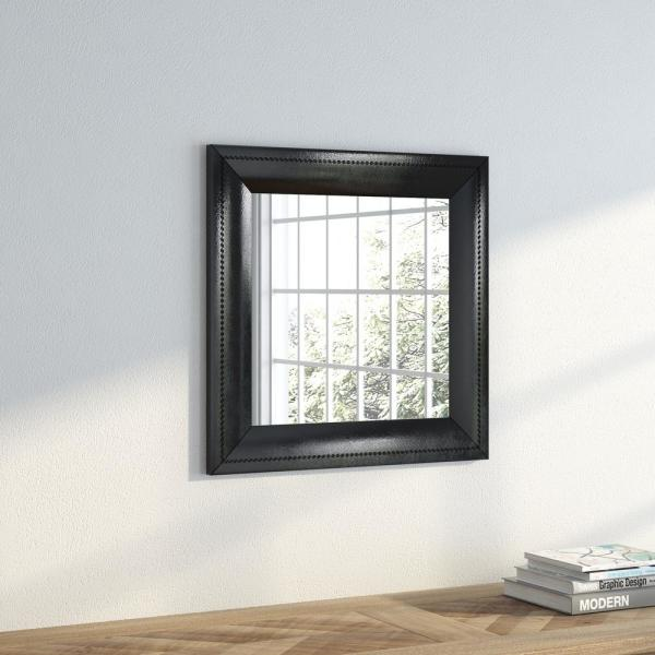 21.75 in. x 21.75 in. Stitched Black Leather Square Vanity Wall