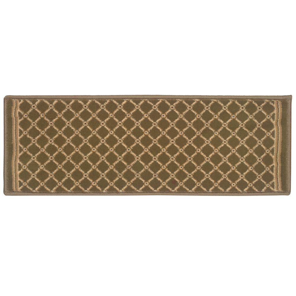 Kurdamir Derby Green 9 in. x 33 in. Stair Tread Cover
