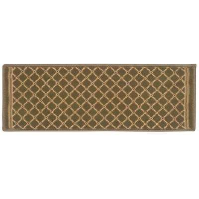 Kurdamir Derby Green 9 in. x 26 in. Stair Tread