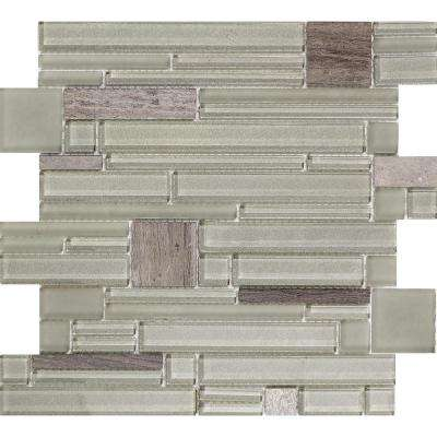 Entity Vigor Glossy 11.81 in. x 11.81 in. x 8mm Glass Mesh-Mounted Mosaic Tile