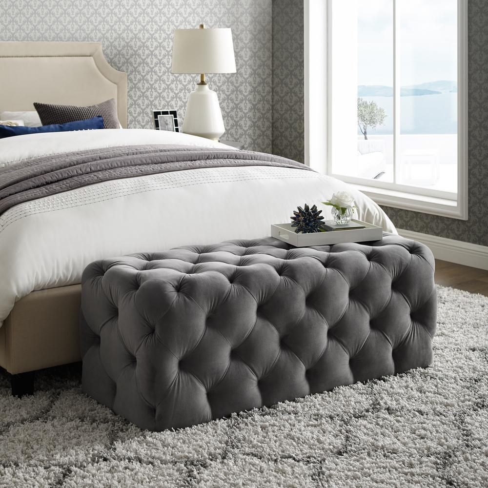 Inspired Home Norman Grey Velvet Tufted Allover Upholstered Bench BH85-02GR-HD