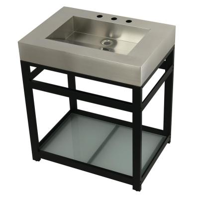 31 in. W Bath Vanity in Matte Black with Stainless Steel Vanity Top in Silver with Silver Basin