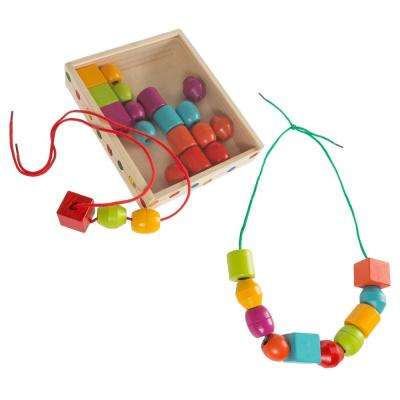 Kids Bead and String Lacing Toy Set with 30 Wooden Beads