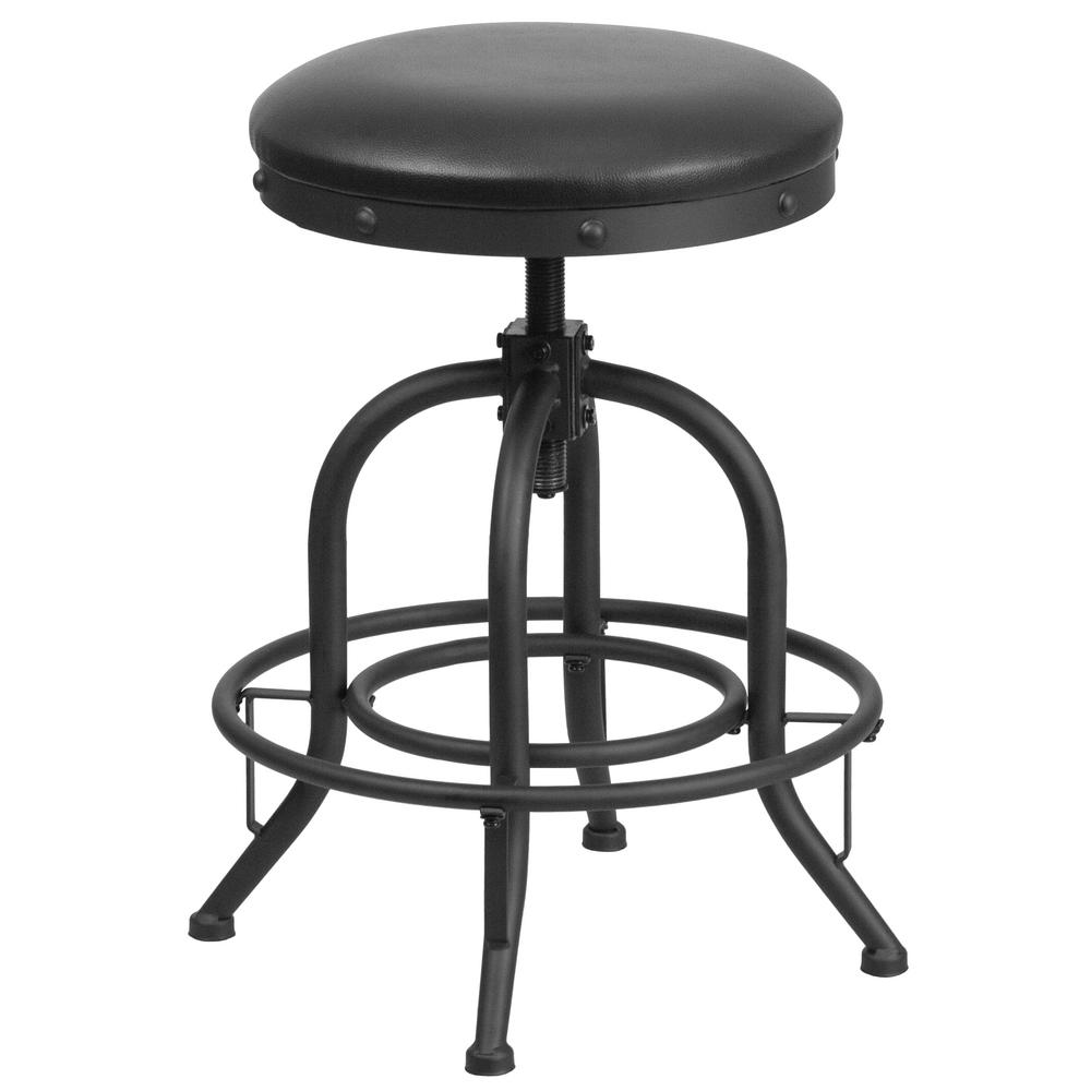 Flash Furniture Adjustable Height Black Swivel Cushioned Bar Stool