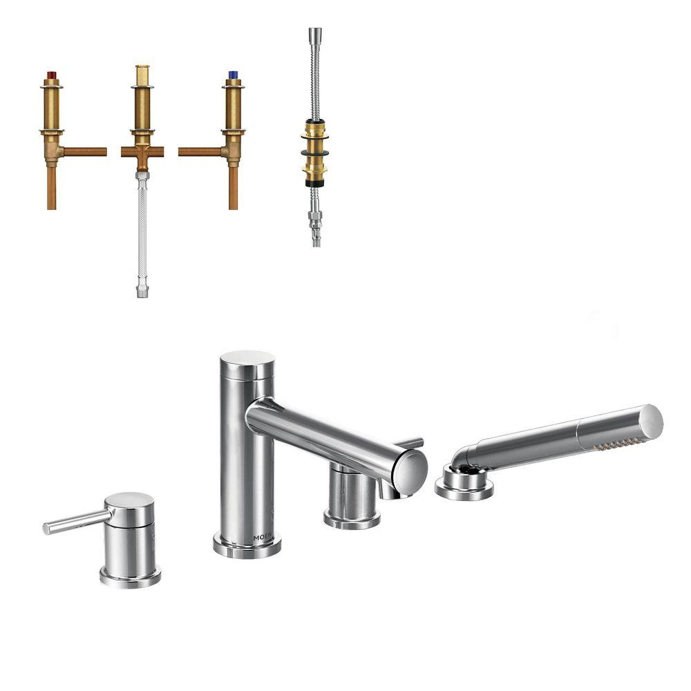 MOEN Align 2-Handle Deck Mount Roman Tub Faucet Trim Kit with Handshower and Valve in Chrome