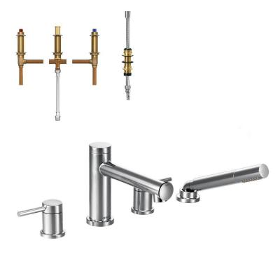 Align 2-Handle Deck Mount Roman Tub Faucet Trim Kit with Handshower and Valve in Chrome