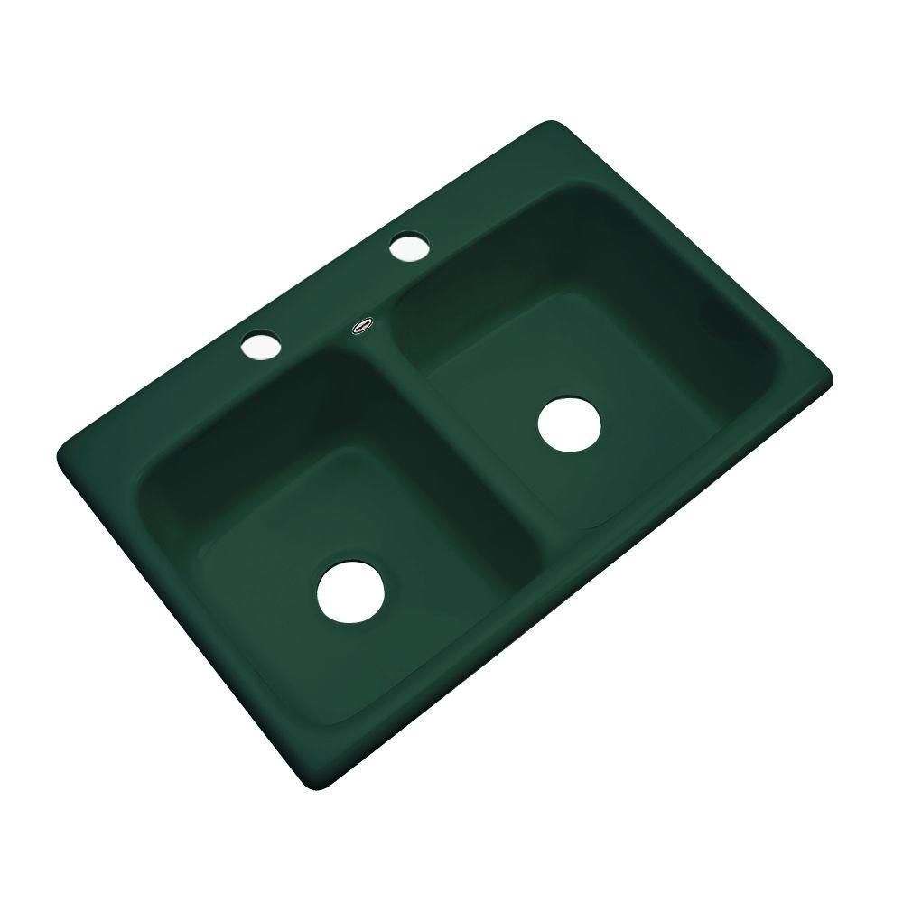 Newport Drop-In Acrylic 33 in. 2-Hole Double Bowl Kitchen Sink in