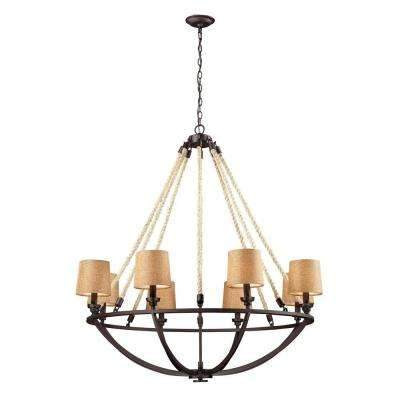 Natural Rope 8-Light Aged Bronze Billiard Light With Tan Linen Shades
