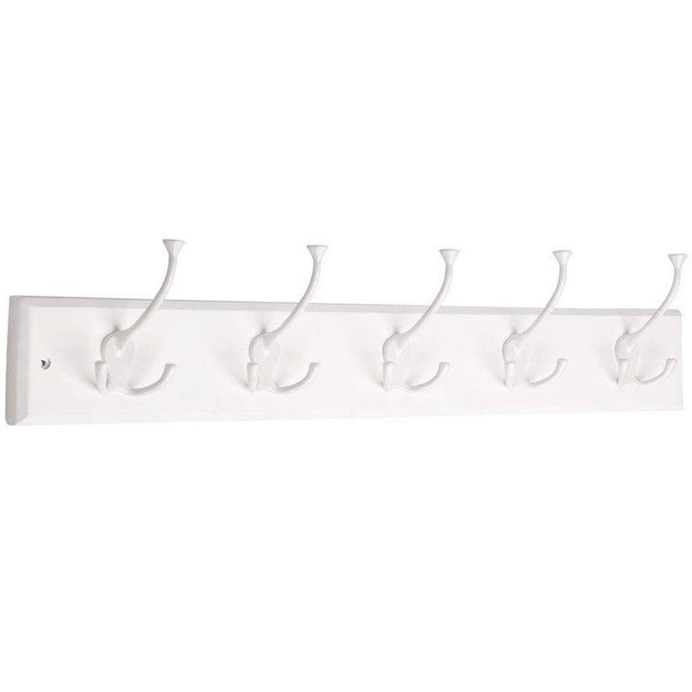 27 in. White Tri-Hook Rack