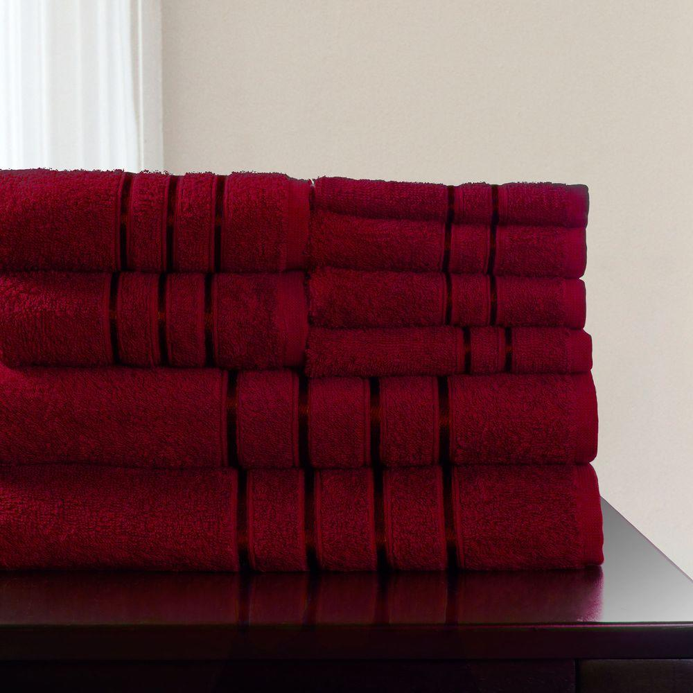 Lavish Home 8-Piece 100% Cotton Bath Towel Set in Burgundy