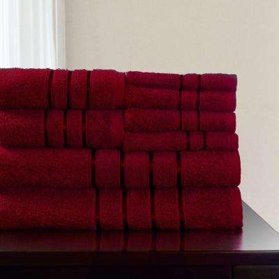100% Cotton Bath Towel Set in Burgundy (8-Piece)