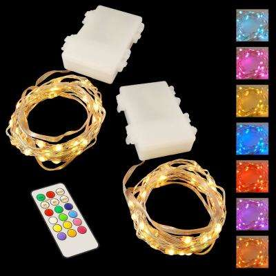 50-Light Battery Operated Mini String Wire LED Lights in  Multi-Color with Multi-Function Remote Control (2-Pack)