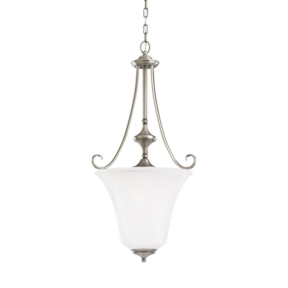 Sea Gull Lighting Parkview 3 Light Antique Brushed Nickel Pendant With Led Bulbs