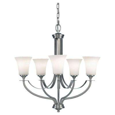 Barrington 25.5 in. W. 5-Light Brushed Steel Chandelier with Opal Etched Glass Shades