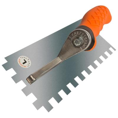 Ergonomic 1/2 in. x 1/2 in. x 1/2 in. Stainless Steel Square Notched Flooring Trowel with Left Adjustable Handle