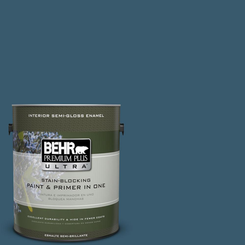1-gal. #550F-7 Blue Spell Semi-Gloss Enamel Interior Paint