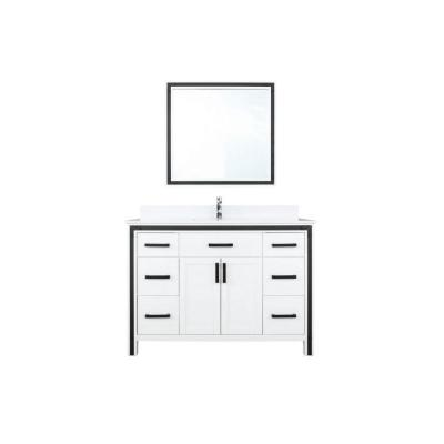 Ziva 48 in. W Bath Vanity in White with Marble Vanity Top in White Cultured with White Basin, 34 in. Mirror