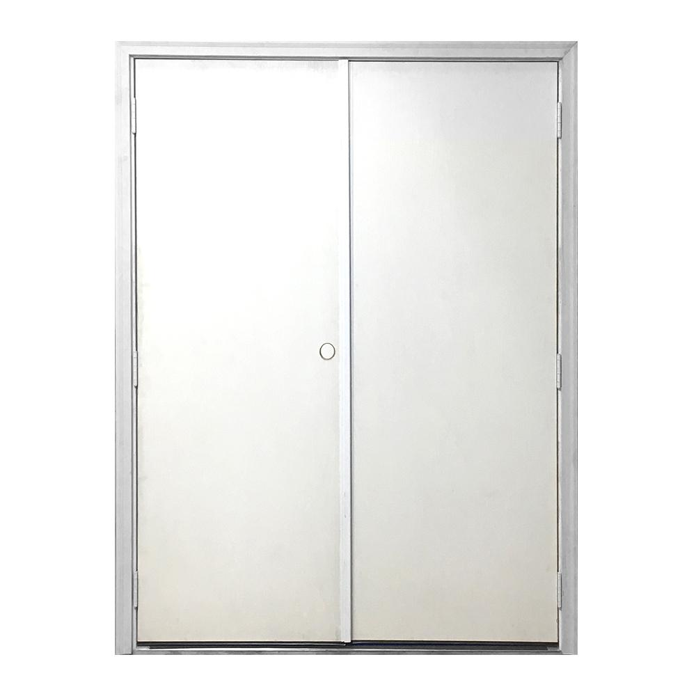 Steves & Sons 72 in. x 80 in. Garden Shed White Primed Right-Hand Outswing Fiberglass Prehung Front Door